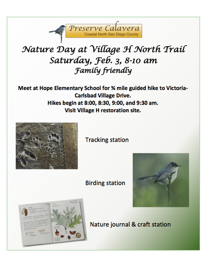 Nature Day at Village H North Trail Feb 3 2018